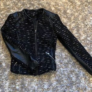 Black tweed moto jacket w/faux leather accents